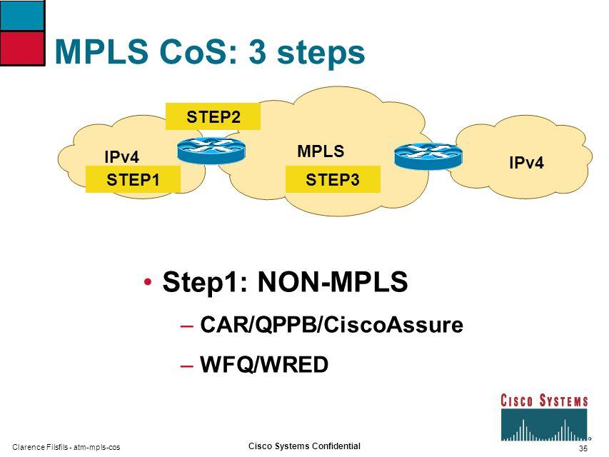 MPLS CoS: 3 steps Step1: NON-MPLS CAR/QPPB/CiscoAssure WFQ/WRED MPLS