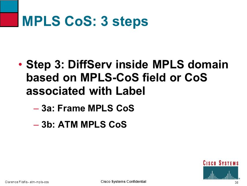 MPLS CoS: 3 steps Step 3: DiffServ inside MPLS domain based on MPLS-CoS field or CoS associated with Label.