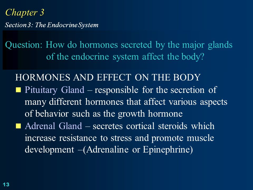 HORMONES AND EFFECT ON THE BODY