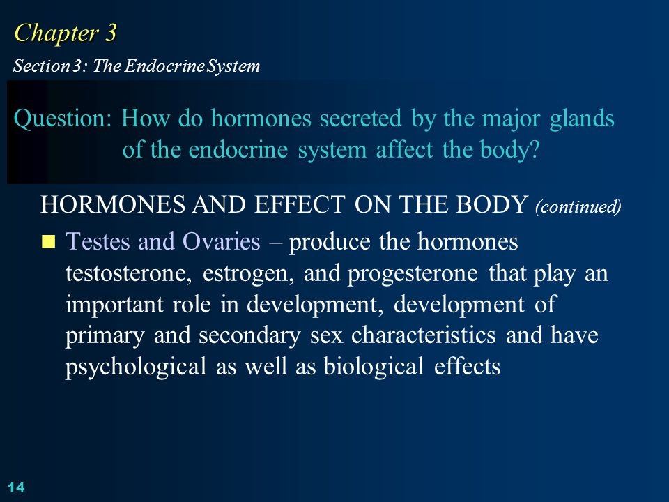 HORMONES AND EFFECT ON THE BODY (continued)