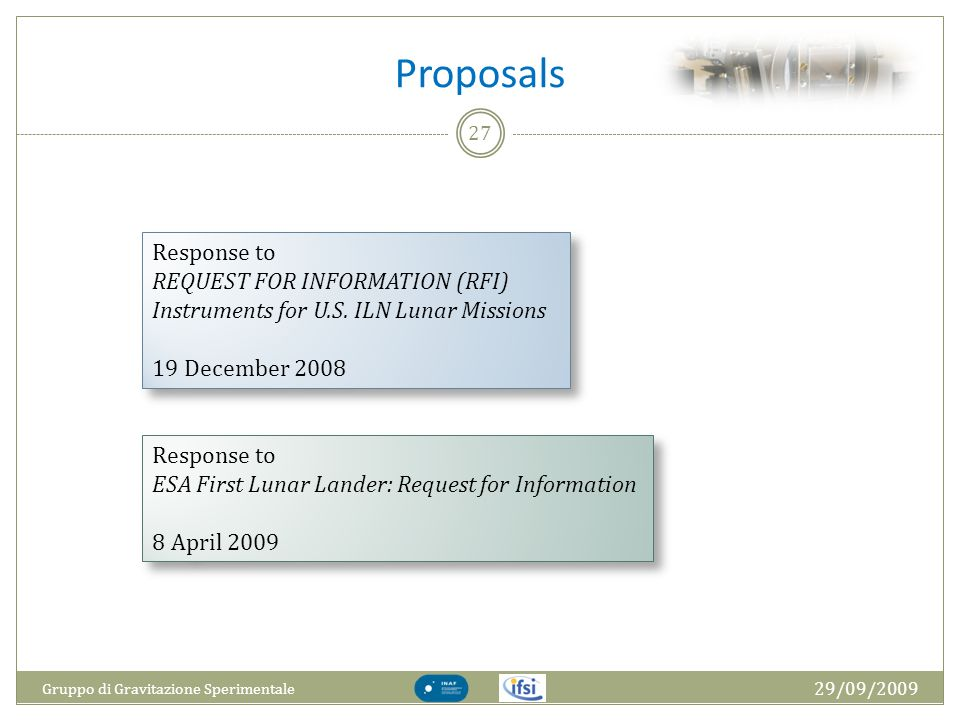 Proposals Response to REQUEST FOR INFORMATION (RFI)