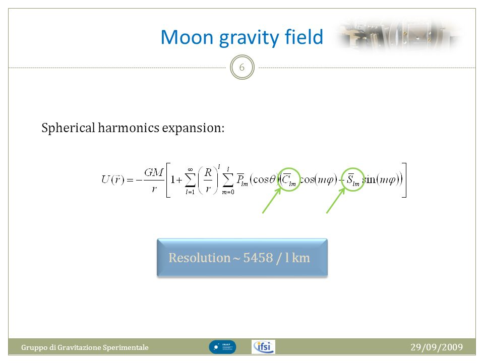 Moon gravity field Spherical harmonics expansion: