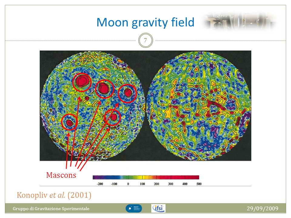 Moon gravity field Mascons Konopliv et al. (2001) 29/09/2009