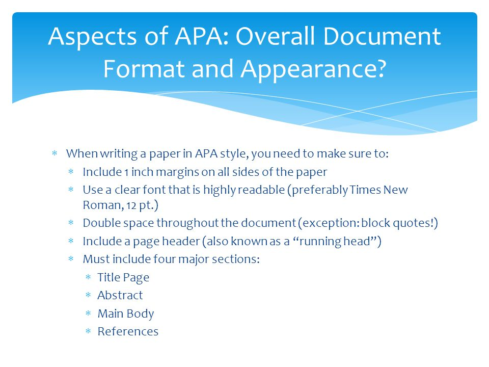 research paper using apa format