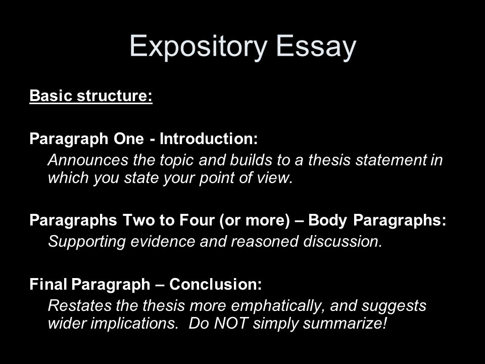 supporting paragraphs for the body of your expository essay How many paragraphs does an essay  or idea followed by supporting detail points body paragraphs ii)  expository and reflective essays are more flexible .