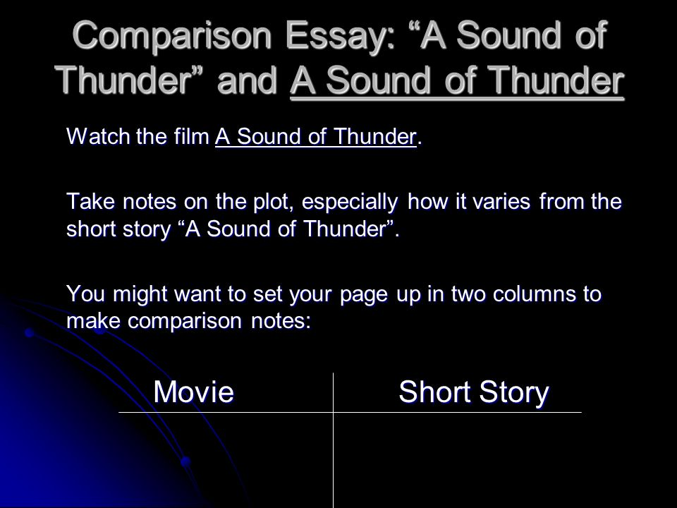 a sound of thunder paragraph Analysis of a sound of thunder essays the story a sound of thunder takes place in 2055 a d and then they go back into the past to the jurassic period these people who go are expert hunters and they want to get a big catch so they intend on shooting and killing a tyrannos.