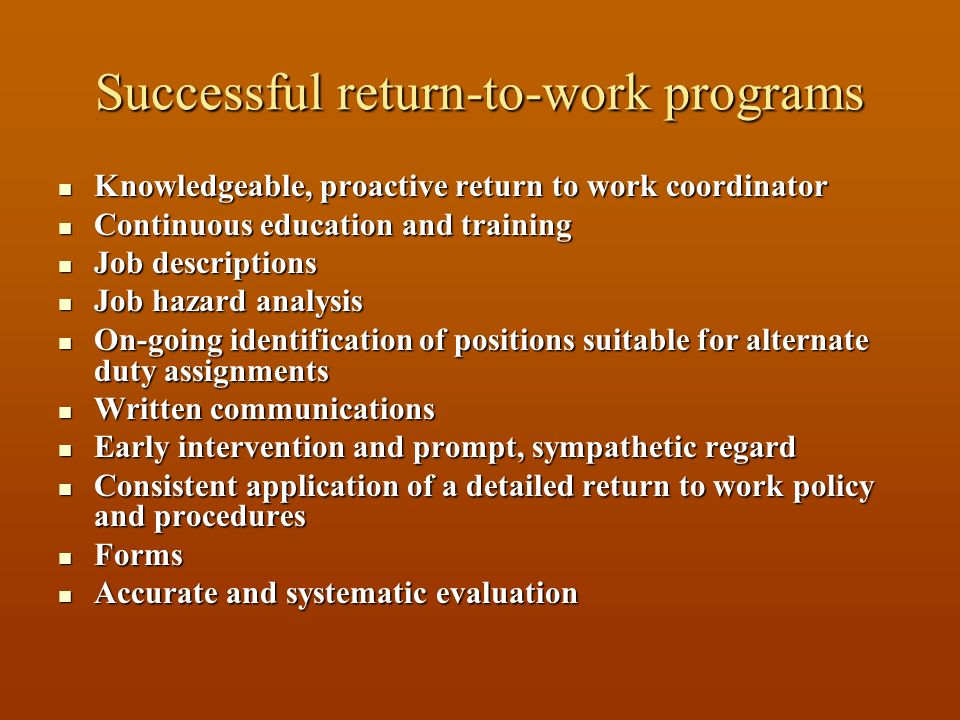 Successful return-to-work programs