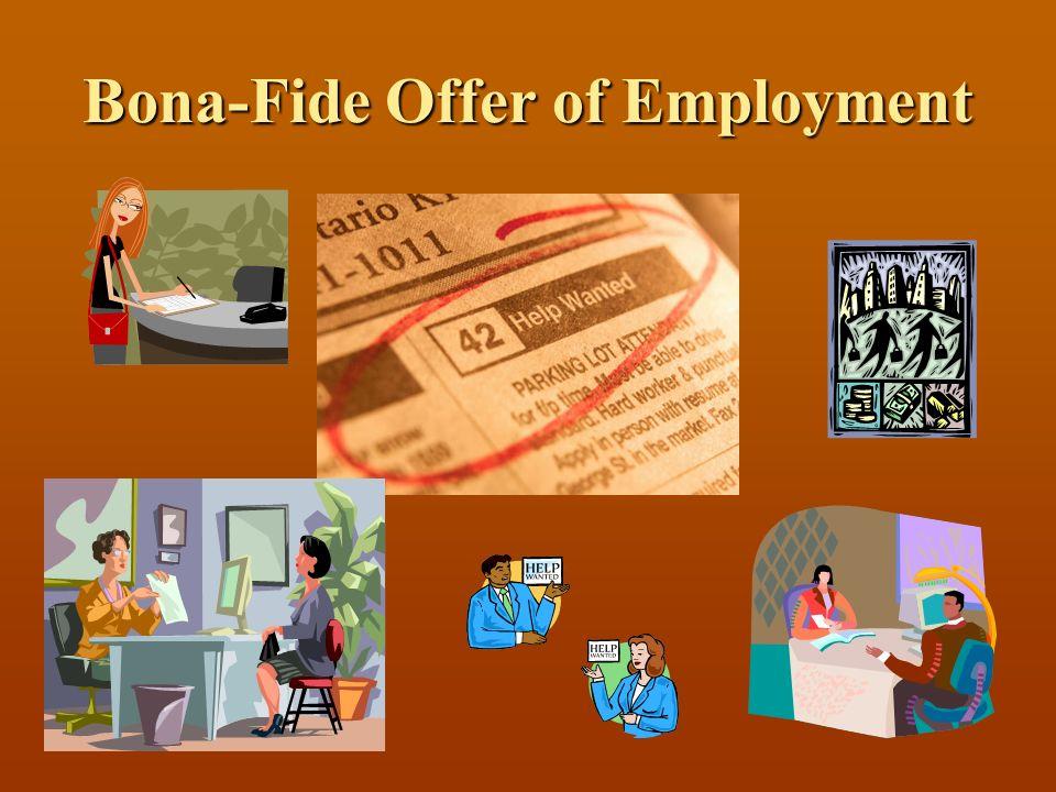 Bona-Fide Offer of Employment