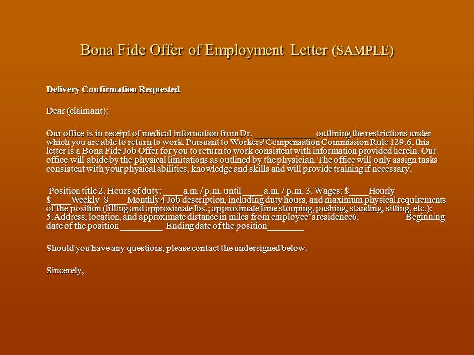 Bona Fide Offer of Employment Letter (SAMPLE)