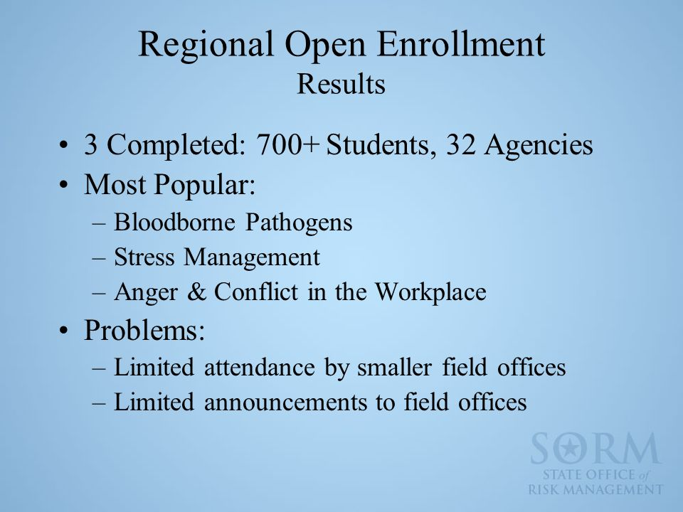 Regional Open Enrollment Results