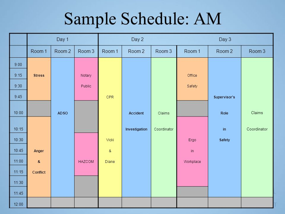 Sample Schedule: AM Day 1 Day 2 Day 3 Room 1 Room 2 Room 3 9:00 9:15