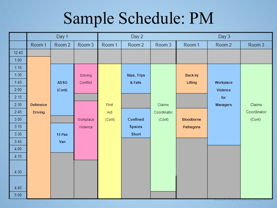 Sample Schedule: PM Day 1 Day 2 Day 3 Room 1 Room 2 Room 3 12:45 1:00