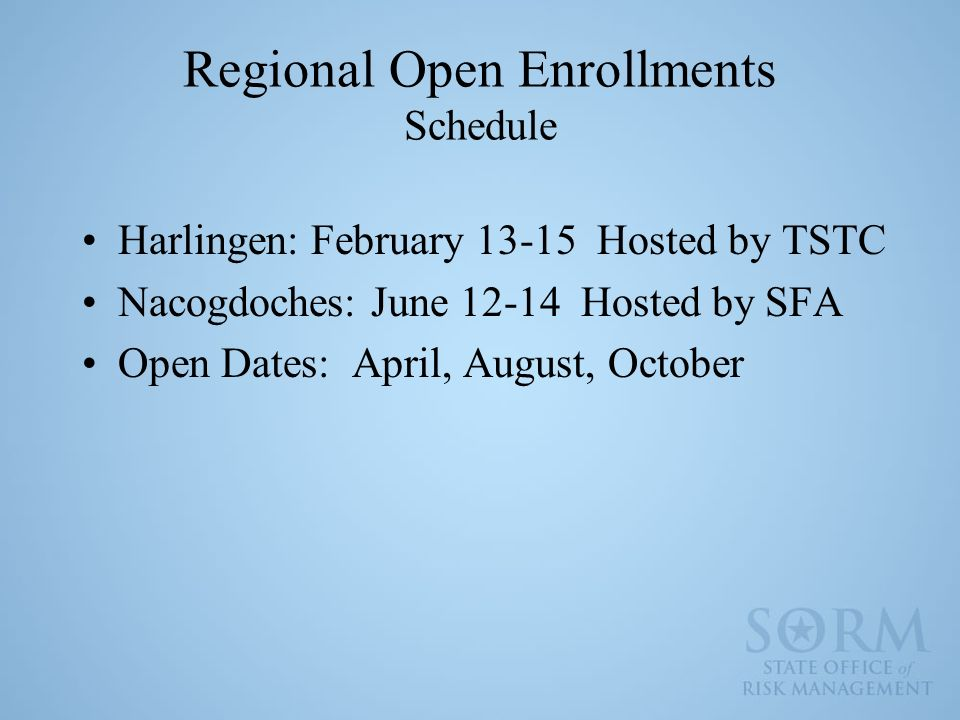 Regional Open Enrollments Schedule