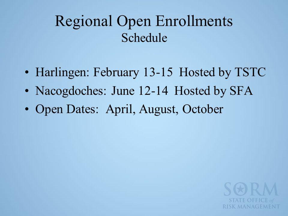 Regional Open Enrollments Schedule