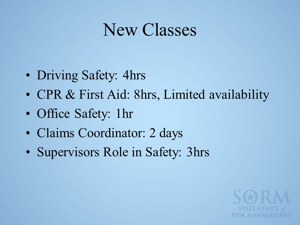 New Classes Driving Safety: 4hrs