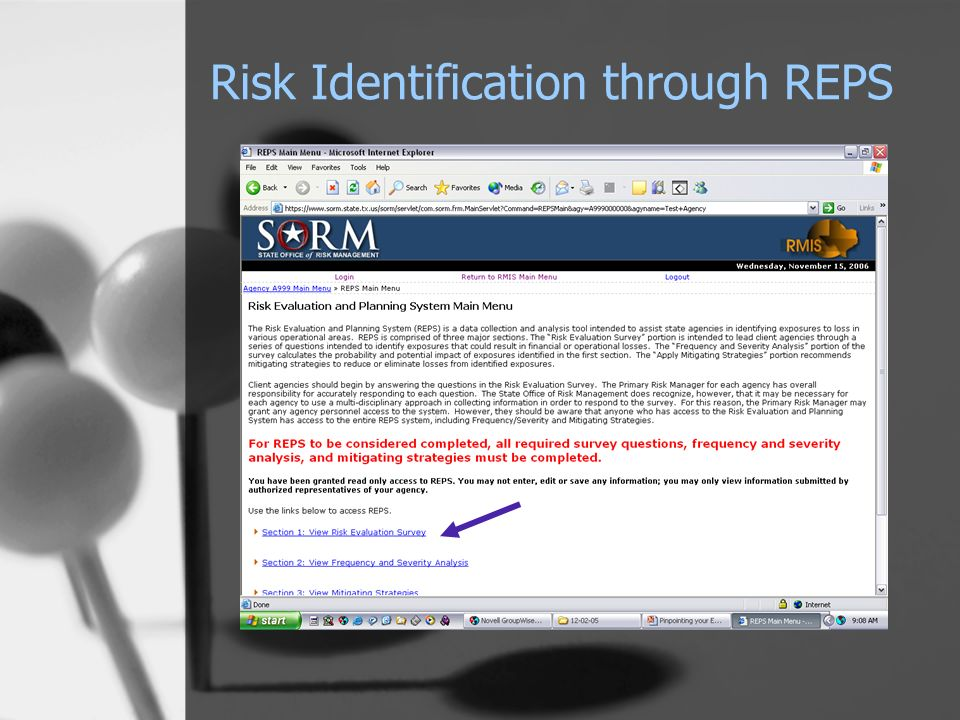 Risk Identification through REPS