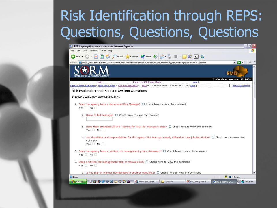 Risk Identification through REPS: Questions, Questions, Questions