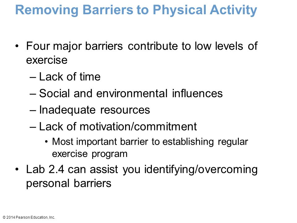 Removing Barriers to Physical Activity