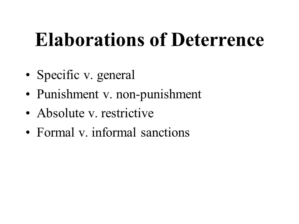 specific deterrence In the article, a reconceptualization of general and specific deterrence, stafford proposes the concept of reconceptualization to cover gaps in previous deterrence research and thinking.