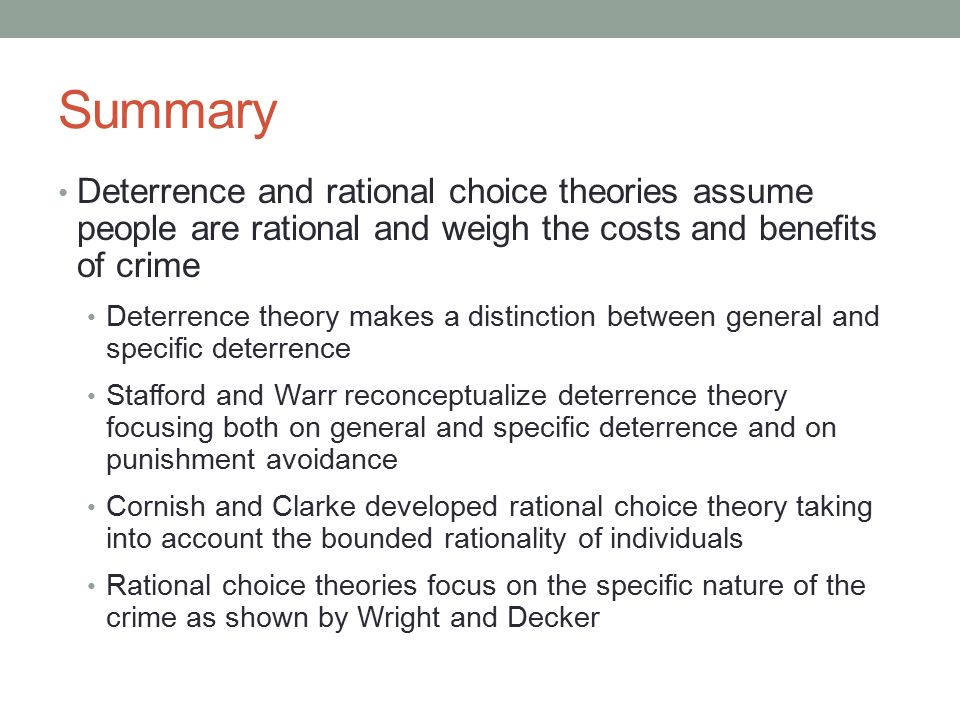 the benefits of using the rational choice model Rational choice theory • see how deterrence theory affects when we consider theories of organized criminal behavior discussed in this chapter decision to do so is a rational choice made after weighing the benefits and.