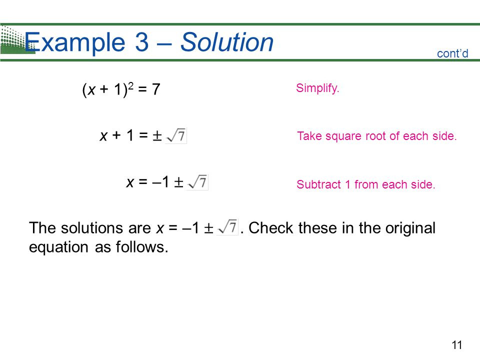 Example 3 – Solution (x + 1)2 = 7 x + 1 =  x = –1 
