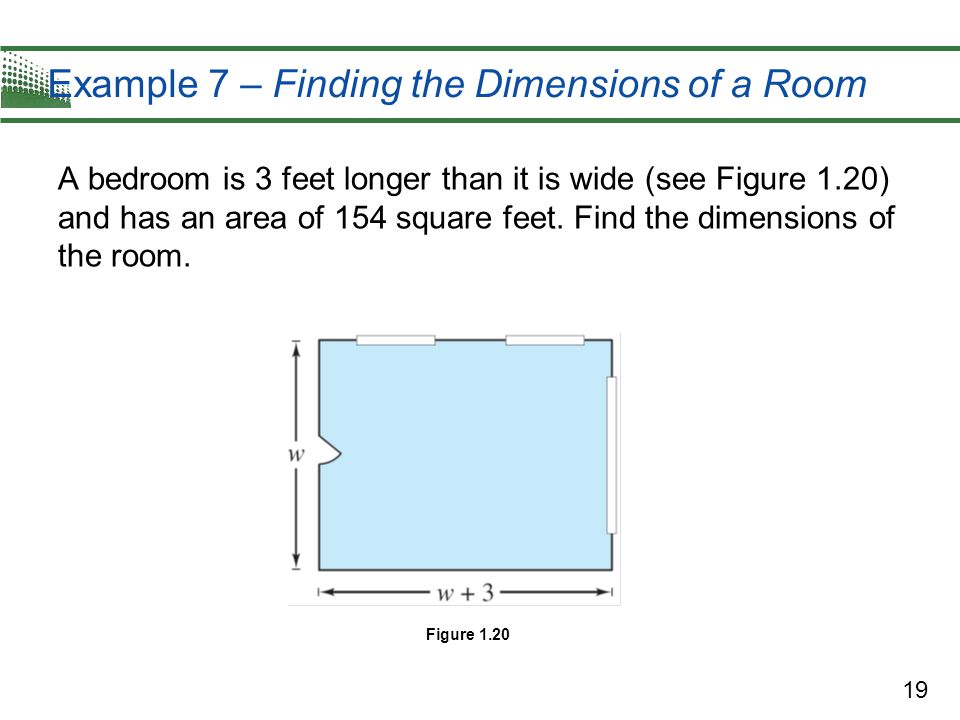Example 7 – Finding the Dimensions of a Room