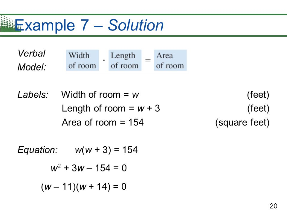Example 7 – Solution Verbal Model: Labels: Width of room = w (feet)