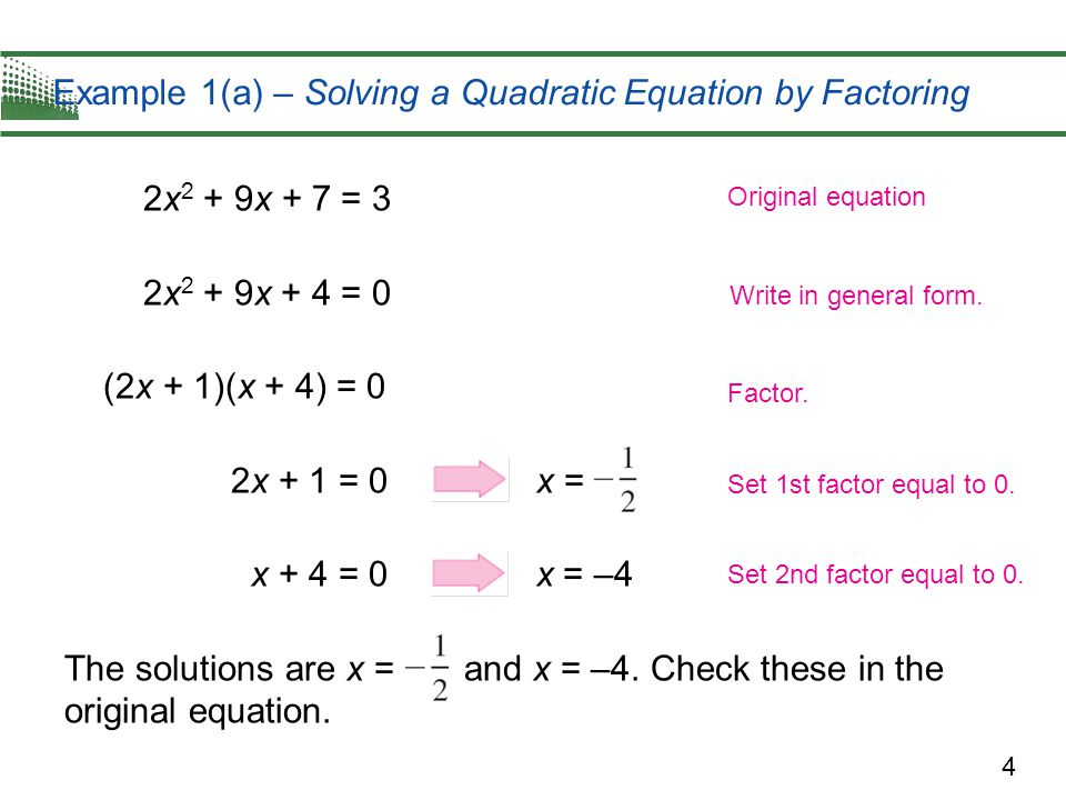 Example 1(a) – Solving a Quadratic Equation by Factoring