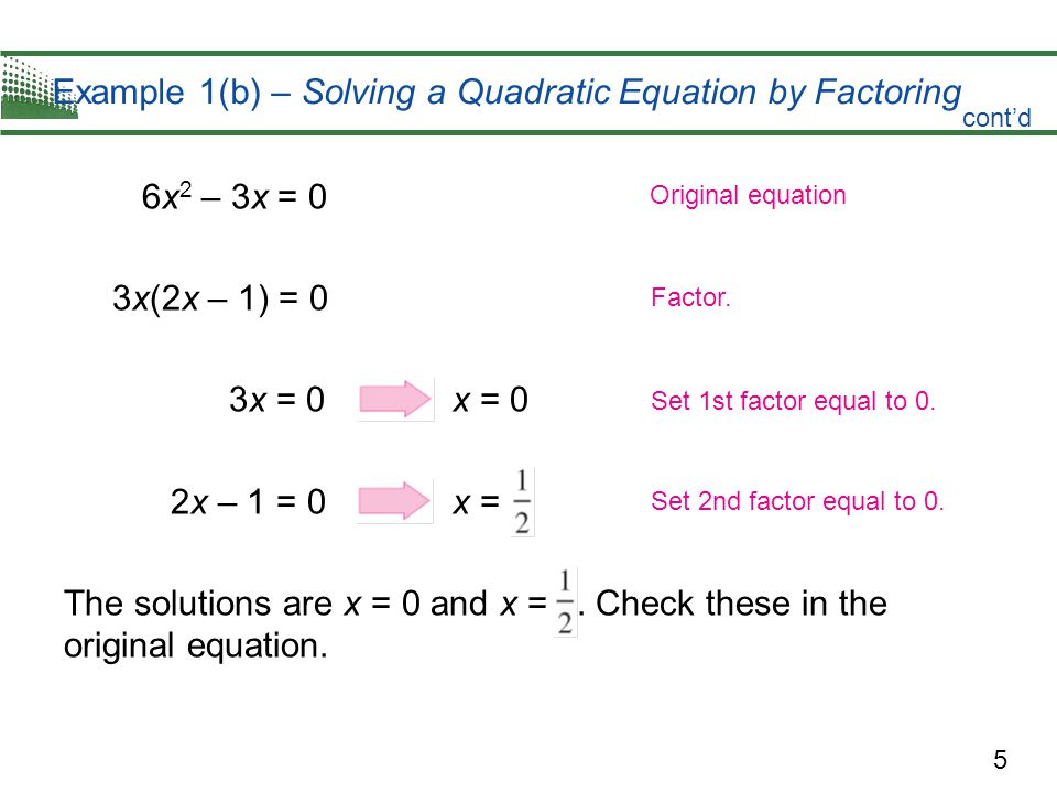 Example 1(b) – Solving a Quadratic Equation by Factoring