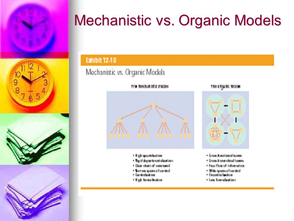 mechanistic versus organic organisational structures essay Free essays on mechanistic and organic structure and culture this essay will examine organisational structure and mechanistic versus organic structures a.
