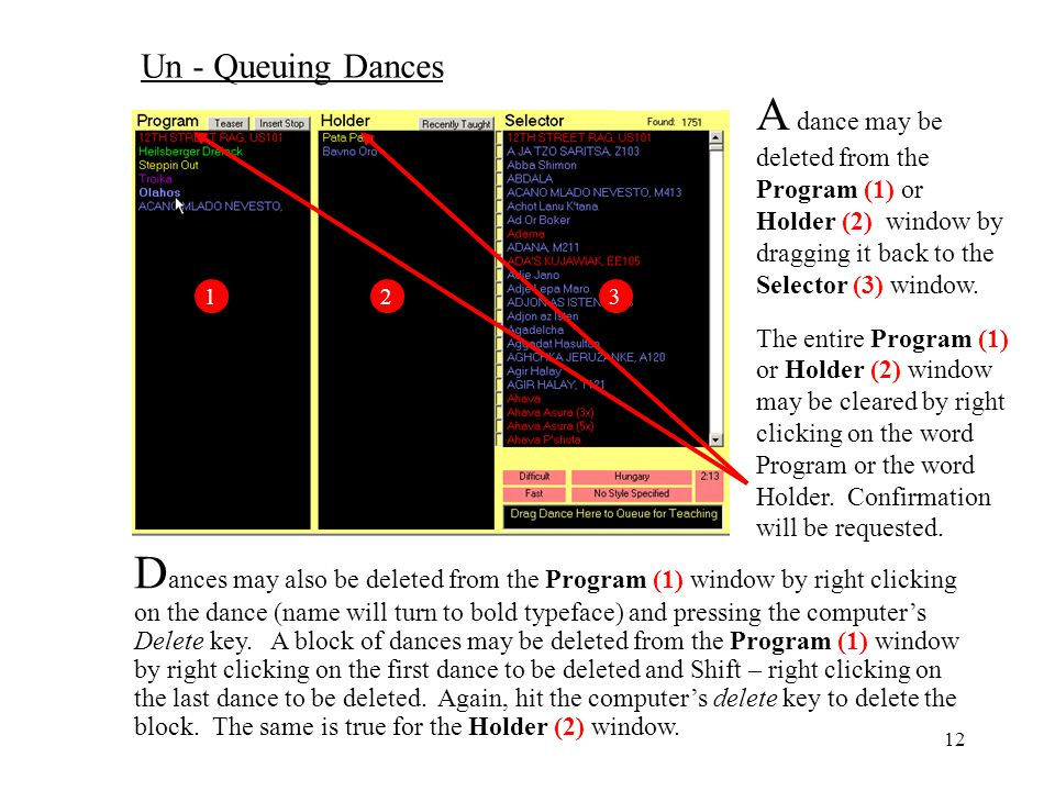 Un - Queuing Dances A dance may be deleted from the Program (1) or Holder (2) window by dragging it back to the Selector (3) window.