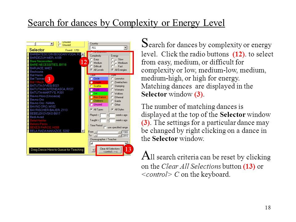Search for dances by complexity or energy level