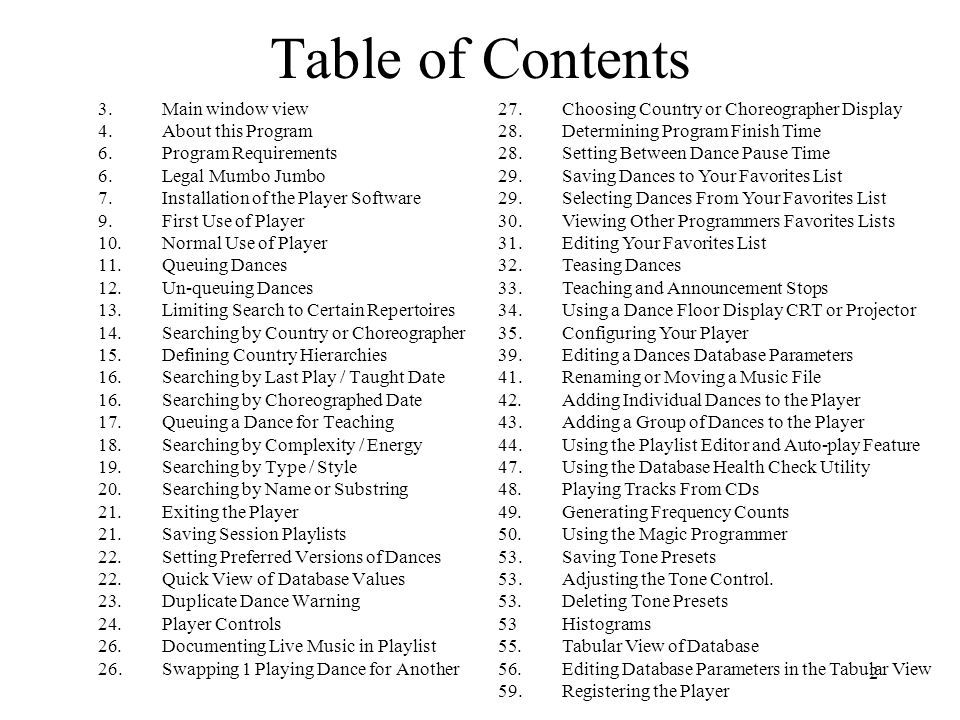 Table of Contents 3. Main window view 4. About this Program