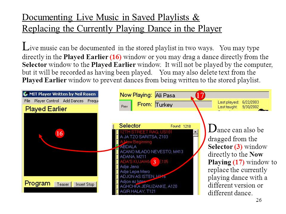 Documenting Live Music in Saved Playlists & Replacing the Currently Playing Dance in the Player