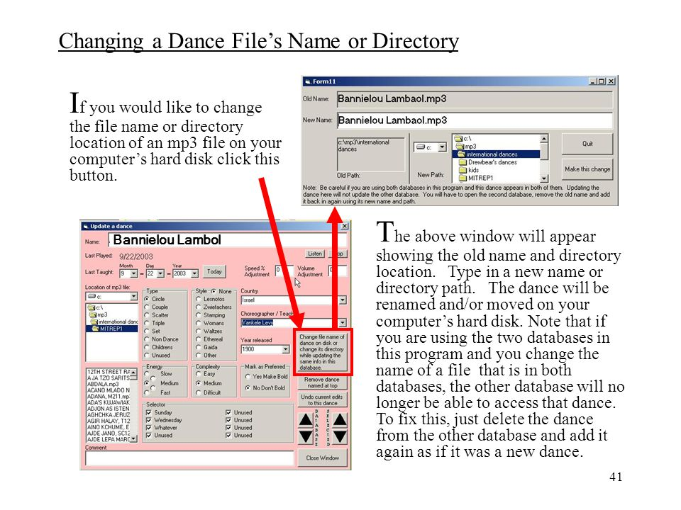 If you would like to change the file name or directory location of an mp3 file on your computer's hard disk click this button.