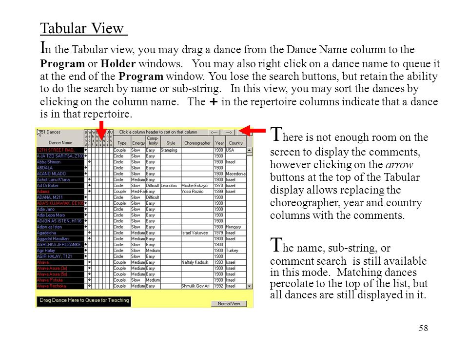In the Tabular view, you may drag a dance from the Dance Name column to the Program or Holder windows. You may also right click on a dance name to queue it at the end of the Program window. You lose the search buttons, but retain the ability to do the search by name or sub-string. In this view, you may sort the dances by clicking on the column name. The + in the repertoire columns indicate that a dance is in that repertoire.