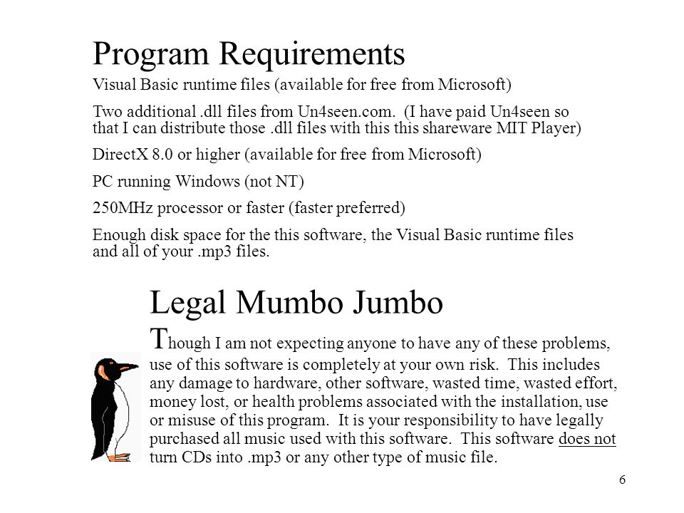 Program Requirements Legal Mumbo Jumbo