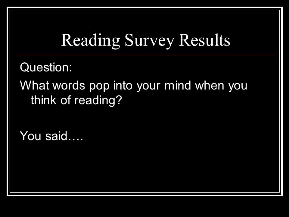 Reading Survey Results