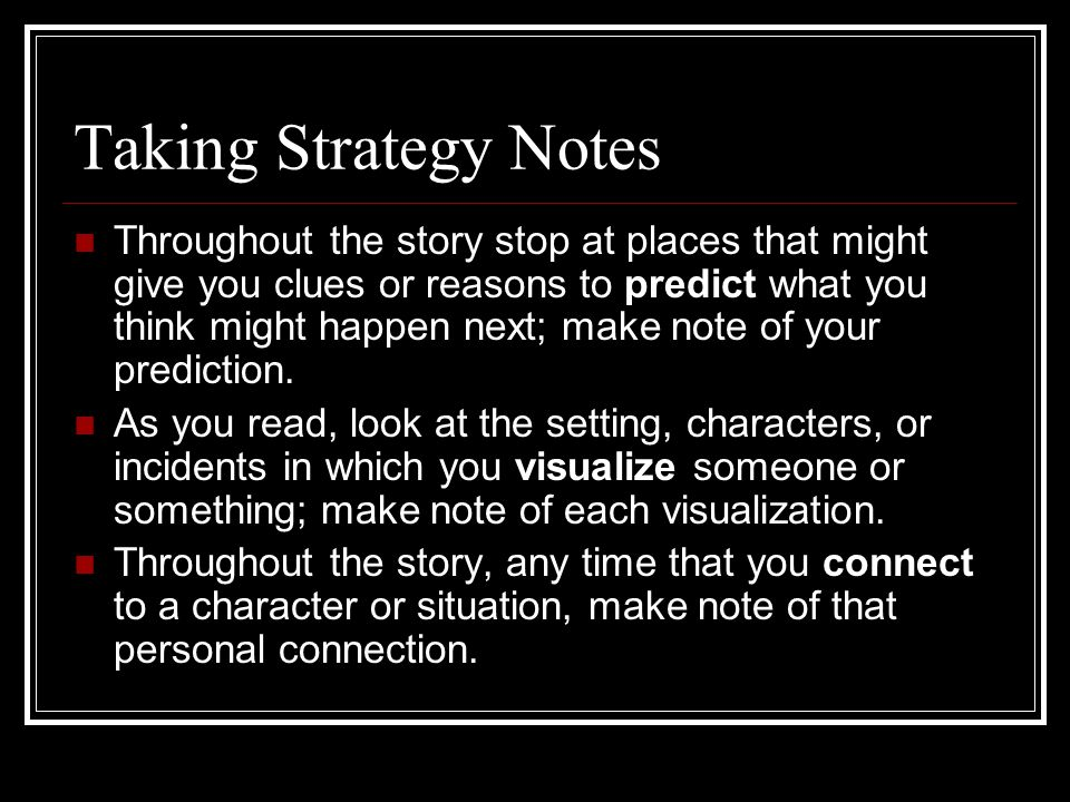 Taking Strategy Notes