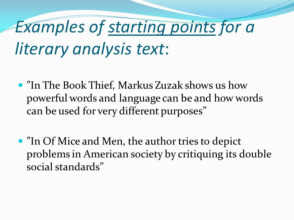 analyzing literature what does it mean ppt video online examples of starting points for a literary analysis text