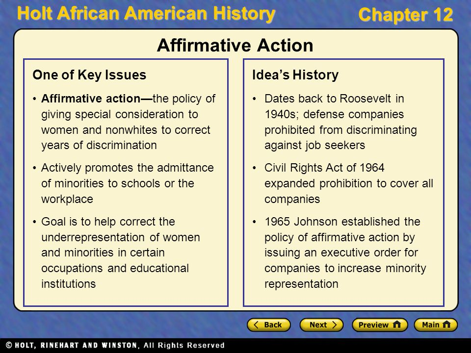 an overview of the affirmative action history Affirmative action in the the history in the united c stated in a 2014 overview that many supporters for affirmative action argue that policies.