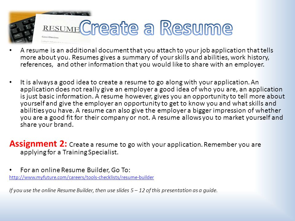 how to create a resume for your first job