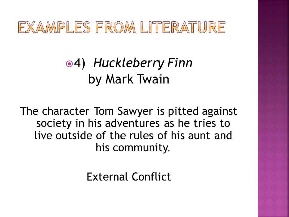 conflict character and novel Get an answer for 'what are the conflicts in the help' and find homework help for other the help there are a number of conflicts in stockett's novel minny takes no chances with people she does not know, but as her character grows through the story, minny learns to trust celia.