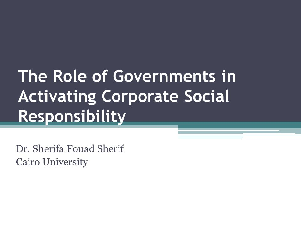 The Role of Governments in Activating Corporate Social Responsibility
