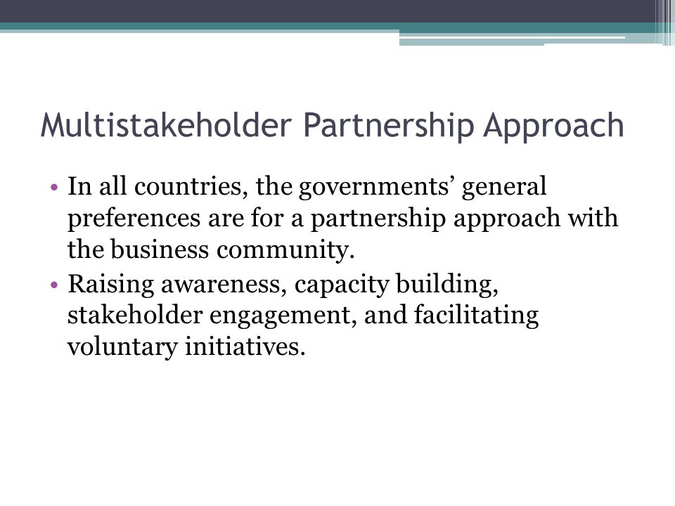 Multistakeholder Partnership Approach