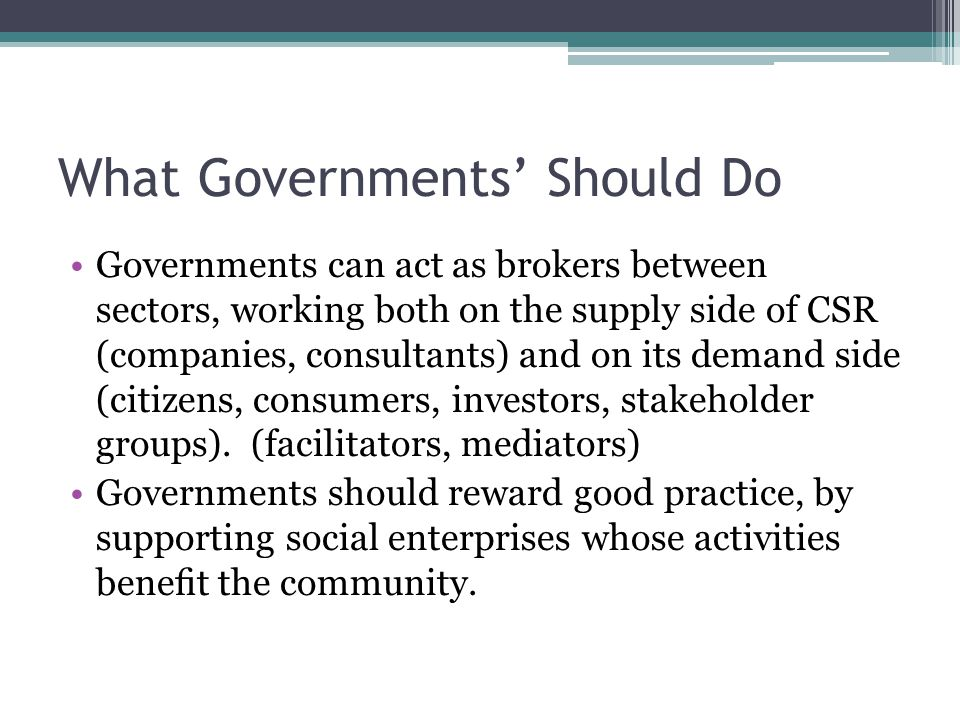 What Governments' Should Do