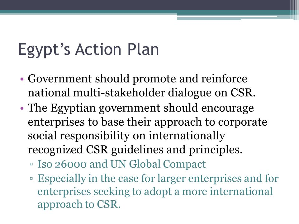 Egypt's Action Plan Government should promote and reinforce national multi-stakeholder dialogue on CSR.