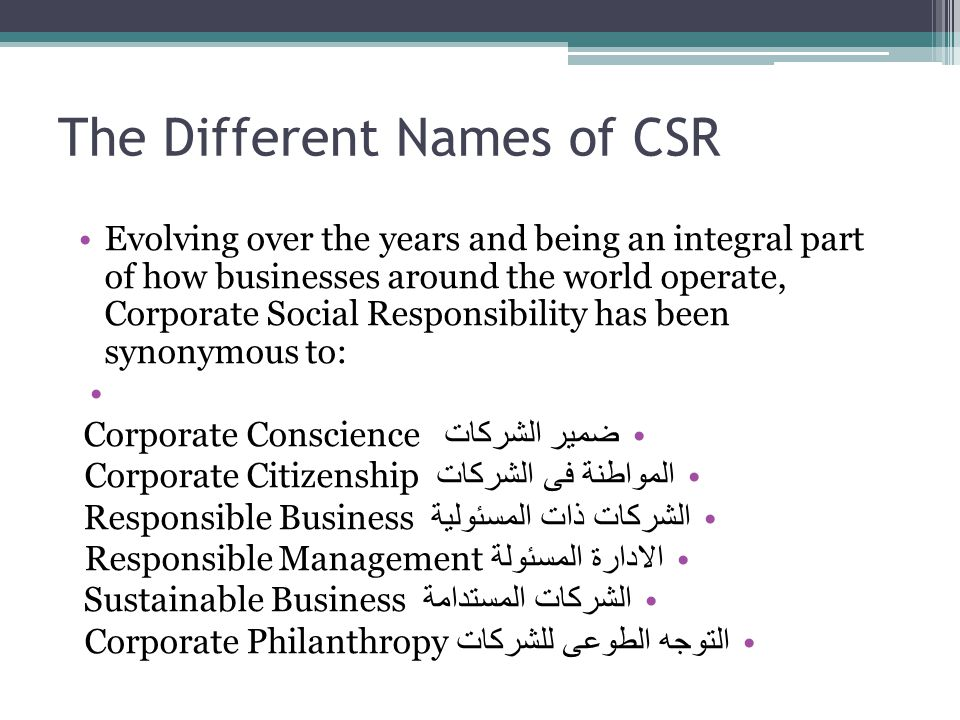 The Different Names of CSR