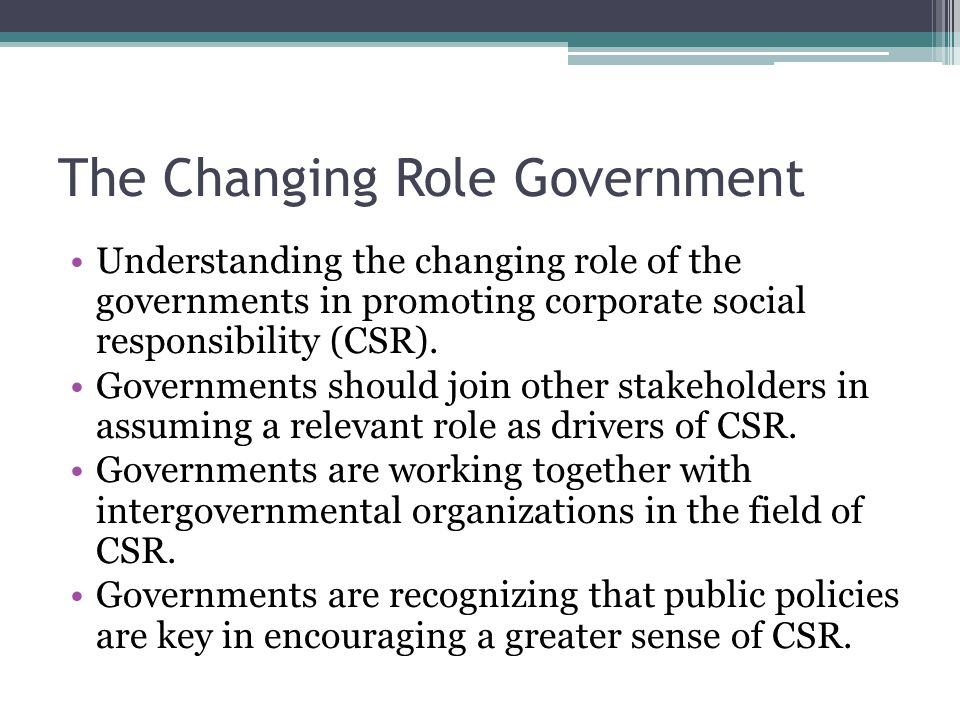 The Changing Role Government