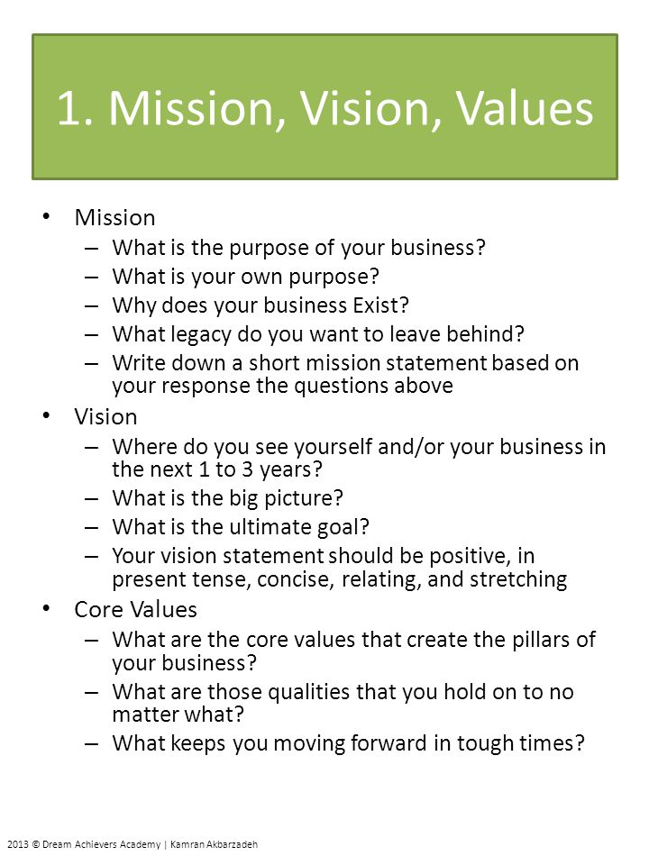 Values for business plan